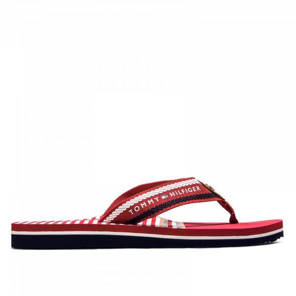 Damen Schlappe Slide Stripy Flat Beach Red