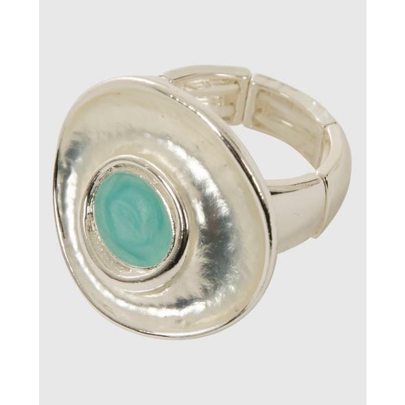 Elastischer Ring mit türkisem Detail