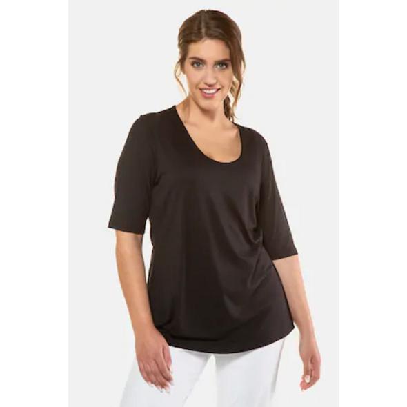 Ulla Popken Shirt, doppelter Stoff, Stretchkomfort, Viskose-Crêpe, selection - Große Größen