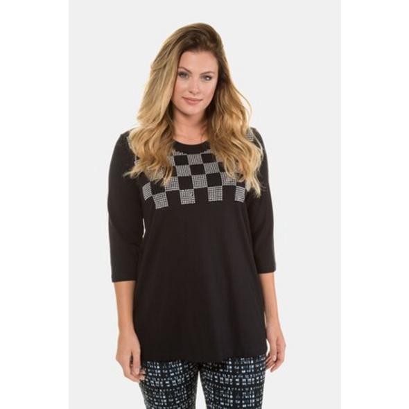 Ulla Popken Shirt, Karodesign, Classic, Ziernieten, selection - Große Größen