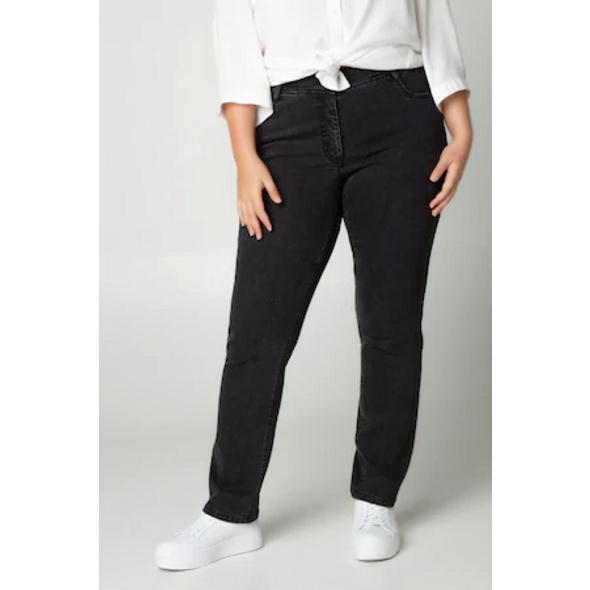 Ulla Popken Jeans Sammy, elastischer Streifenbund, 5-Pocket - Große Größen