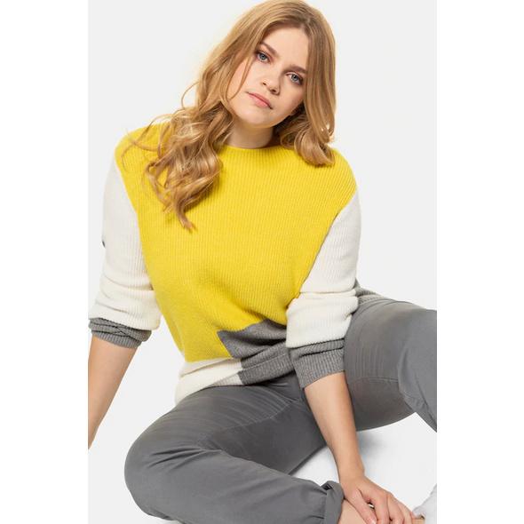 Pullover, Colorblocking, Oversized, weicher Rippstrick