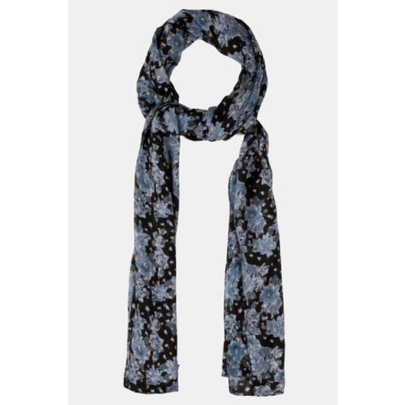 Schal, Blütenmuster, Blautöne