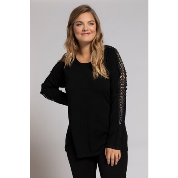 Pullover, transparente Ärmelborte mit Glitzer, selection