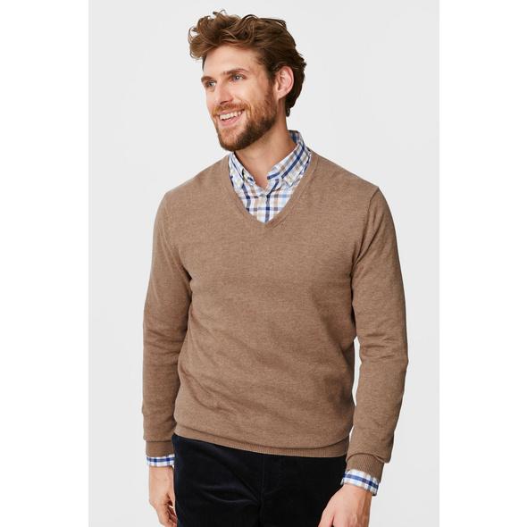 Feinstrick-Pullover und Hemd - Regular Fit - Button-down - recycelt