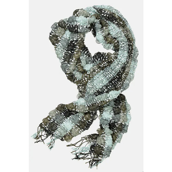 Schal, elastische 3D-Struktur, angenehm weich, Fransen