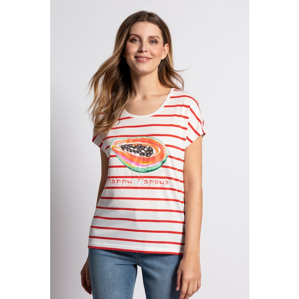 Gina Laura T-Shirt, Streifen, Melonenmotiv, Pailletten, oversized