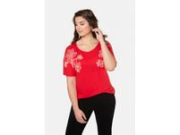 T-Shirt, Blütenstickerei, Oversized, Gummisaum