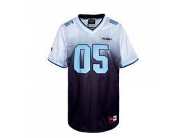 Herren T-Shirt - Fubu Corporate Grad Football Jersey - White / Black / Lightblue