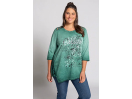 Ulla Popken T-Shirt, Blütenmotiv, A-Linie, cool dyed, Pailletten - Große Größen