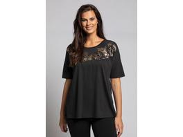T-Shirt, Stickereien, Metallic-Blüten, Relaxed, Halbarm