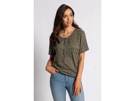 Gina Laura T-Shirt, fein gemustert, Bindeband, Gummisaum